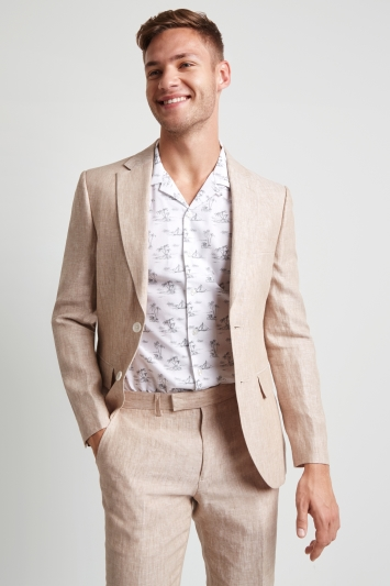 Moss London Skinny Fit Beige Linen Jacket