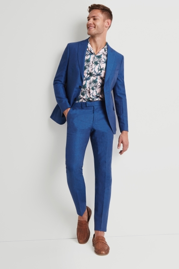 Moss London Skinny Fit Marine Linen Jacket
