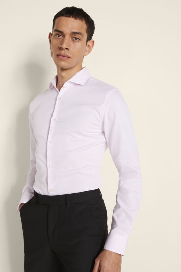 Moss London Skinny Fit Pink Single Cuff Oval Textured Stretch Shirt