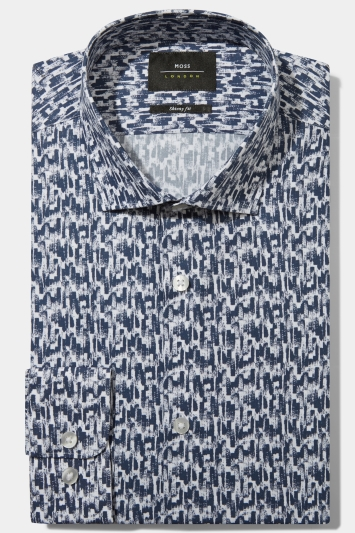 Moss London Skinny Fit Navy Single Cuff Graphic Print Shirt