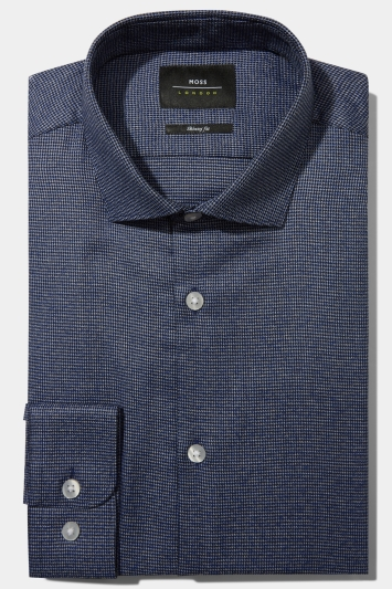 Moss London Skinny Fit Navy Single Cuff Jaspe Textured Shirt