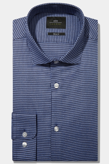 Moss London Skinny Fit Navy Single Cuff Jaspe Houndstooth Shirt