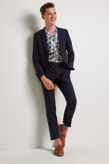 Moss London Skinny Fit Navy Performance Jacket