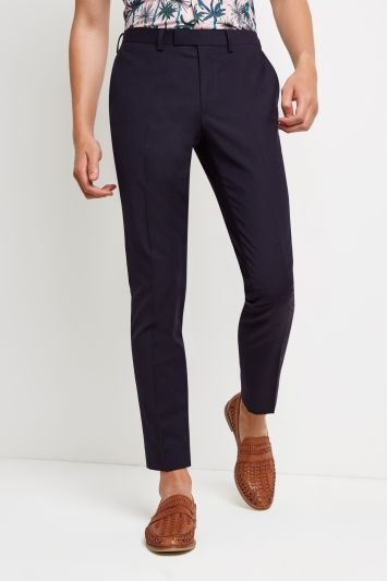Moss London Skinny Fit Navy Performance Trousers