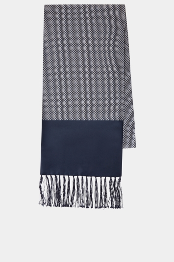 Moss London Navy Geo Dress Scarf