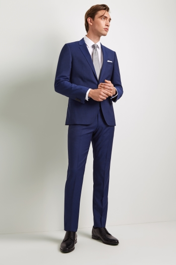 HUGO by Hugo Boss Tailored Fit Plain Bright Blue Jacket
