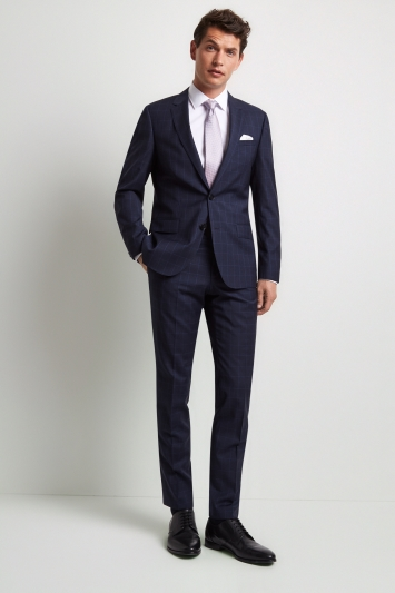 HUGO by Hugo Boss Tailored Fit Navy with Blue Windowpane Jacket