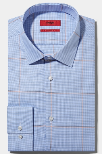 cd302c0c0 HUGO by Hugo Boss Tailored Fit Blue Orange Prince of Wales Check Shirt