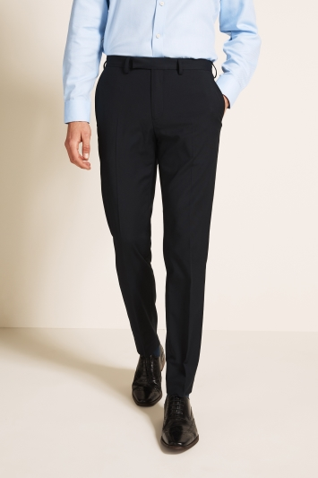 Moss 1851 Tailored Fit Machine Washable Navy Plain Trousers with Stretch