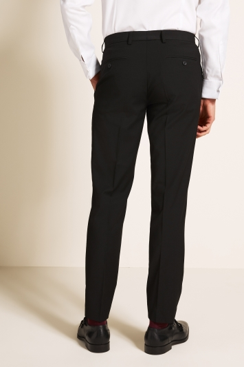 Moss 1851 Tailored Fit Machine Washable Black Plain Trousers with Stretch