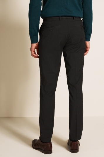 Moss 1851 Tailored Fit Machine Washable Charcoal Plain Trousers with Stretch