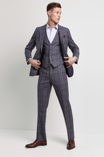 2488d00771c91 Ted Baker Tailored Fit Grey with Blue Check Jacket
