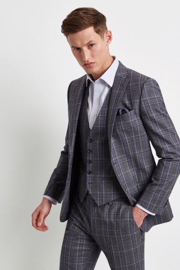 Ted Baker Tailored Fit Grey with Blue Check Jacket