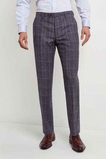 Ted Baker Tailored Fit Grey with Blue Check Trousers