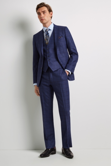 Ted Baker Tailored Fit Blue Overcheck Jacket