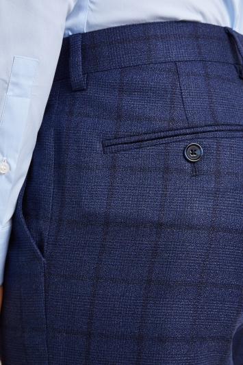 Ted Baker Tailored Fit Blue Overcheck Trousers