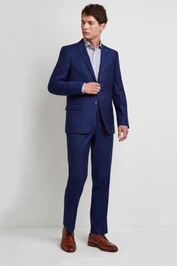 Ted Baker Gold Tailored Fit Blue Herringbone Jacket