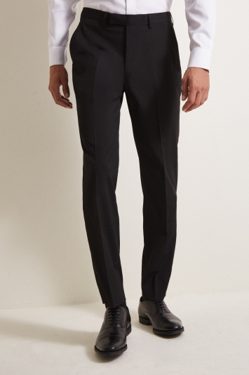 Moss Esq. Regular Fit Machine Washable Black Plain Trousers with Stretch