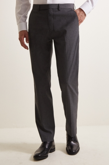 Moss Esquire Regular Fit Machine Washable Mid Grey Trousers with Stretch