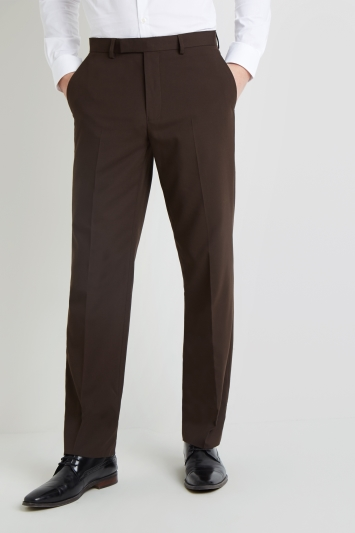 Moss Esquire Regular Fit Machine Washable Chocolate Brown Trousers with Stretch