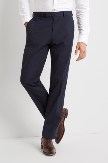 Moss Esquire Regular Fit Machine Washable Blue Trousers with Stretch