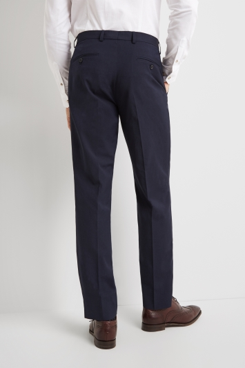 Moss Esq. Regular Fit Machine Washable Blue Trousers with Stretch