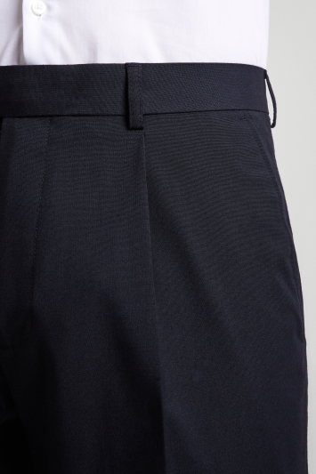 Moss Esq. Regular Fit Machine Washable Navy Single Pleat Front Trousers with Stretch