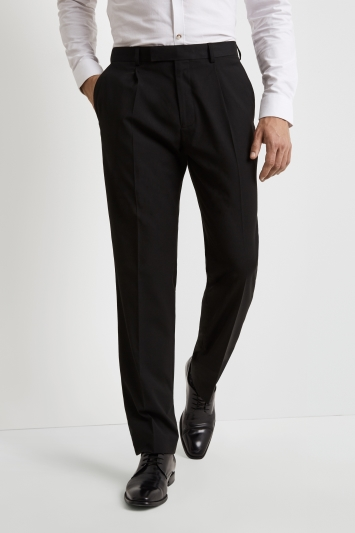 Moss Esq. Regular Fit Machine Washable Black Single Pleat Front Trousers with Stretch