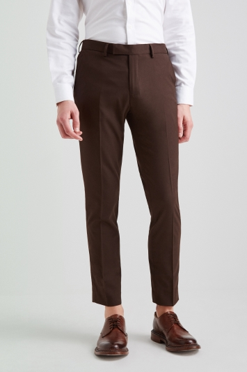 Moss London Skinny Fit Machine Washable Chocolate Brown Trousers with Stretch