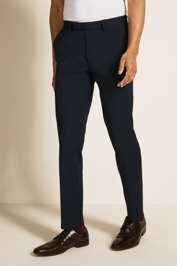 Moss London Skinny Fit Machine Washable Blue Trousers with Stretch