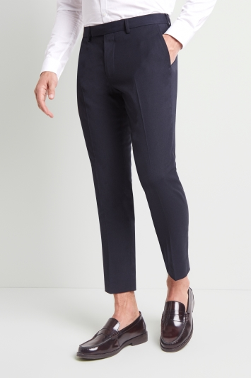 Moss London Skinny Fit Machine Washable Navy Cropped Trousers with Stretch