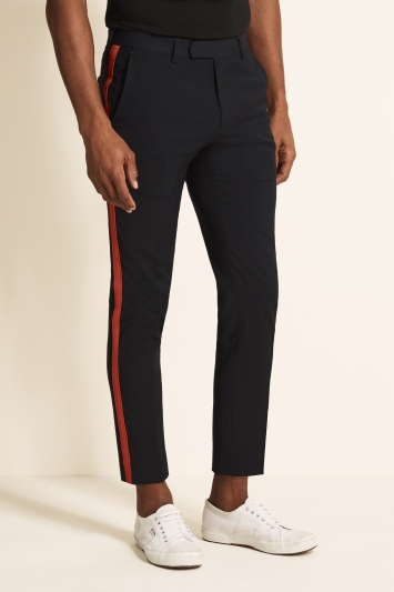 Moss London Skinny Fit Navy with Red Side Stripe Cropped Trousers