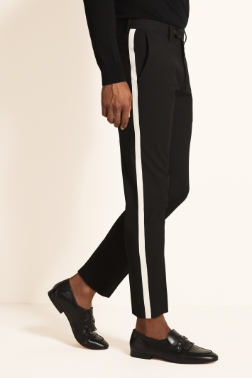 Moss London Slim Fit Black with White Side Stripe Cropped Trousers
