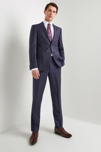 ef2552973a27 Ted Baker Gold Tailored Fit Blue with Plum Check Jacket