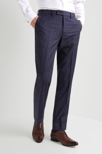 Ted Baker Gold Tailored Fit Blue with Plum Check Trousers