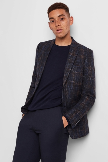 Moss London Skinny Fit Navy Rust Check Jacket