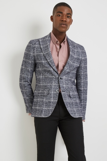 Moss London Skinny Fit Grey Speckle Check Jacket