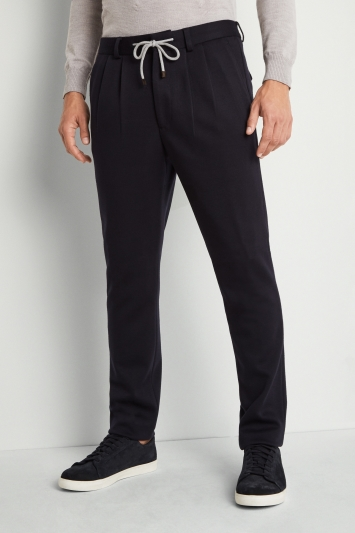 Moss London Skinny Fit Navy Slouch Trousers