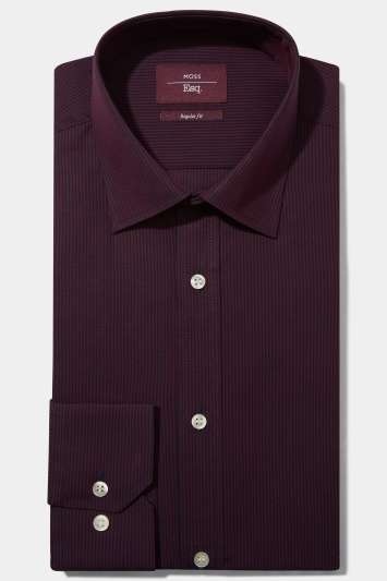 Moss Esq. Regular Fit Berry Single Cuff Stripe Non Iron Shirt