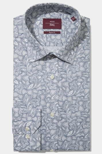 Moss Esq. Regular Fit Blue Single Cuff Paisley Shirt