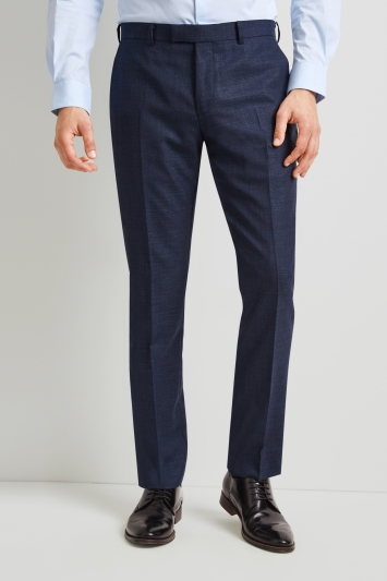 DKNY Slim Fit Teal Texture Trousers