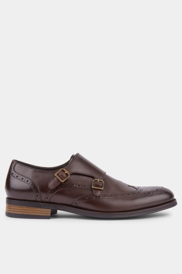 John White Langdale Chocolate Wingtip Double Buckle Monk