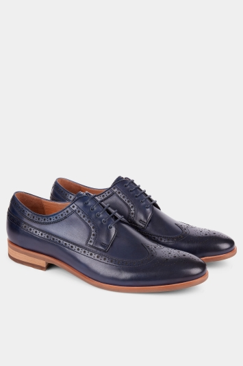 John White Lyme Navy Wingtip Punched Derby
