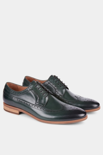 John White Lyme Green Wingtip Punched Derby