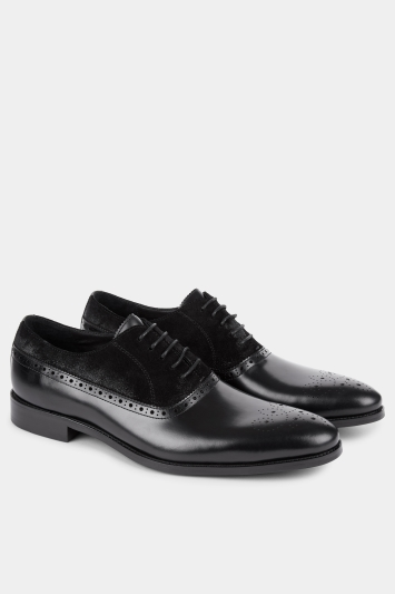 John White Wolfe Black Contrast Oxford