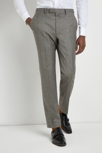 French Connection Slim Fit Light Grey Puppytooth Trousers