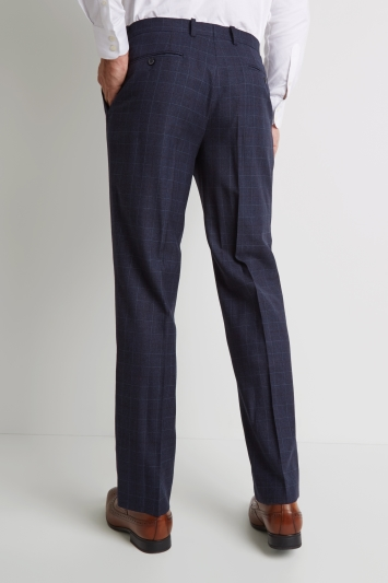 Savoy Taylors Guild Regular Fit Indigo Burgundy Prince of Wales Check Trousers