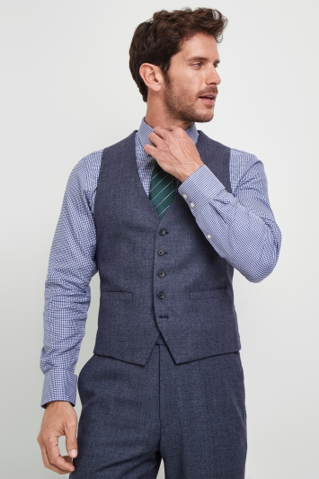 Savoy Taylors Guild Regular Fit Light Blue Birdseye Waistcoat