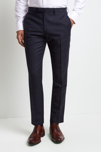 Moss 1851 Tailored Fit Blue & Gold Check Trousers