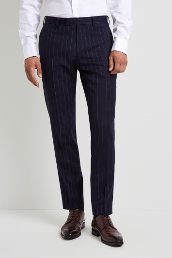 Moss 1851 Tailored Fit Blue Chalk Stripe Trouser